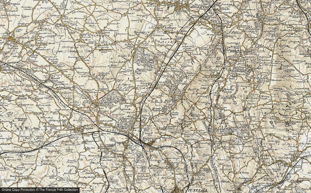Old Map of Historic Map covering Ackers Crossing in 1902-1903