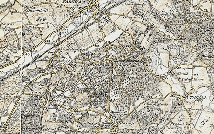 Old map of The Bourne in 1897-1909