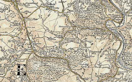 Old map of Tintern Cross in 1899-1900