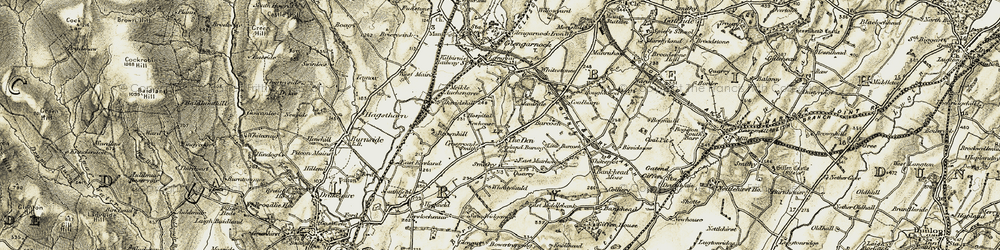 Old map of Wheatyfauld in 1905-1906