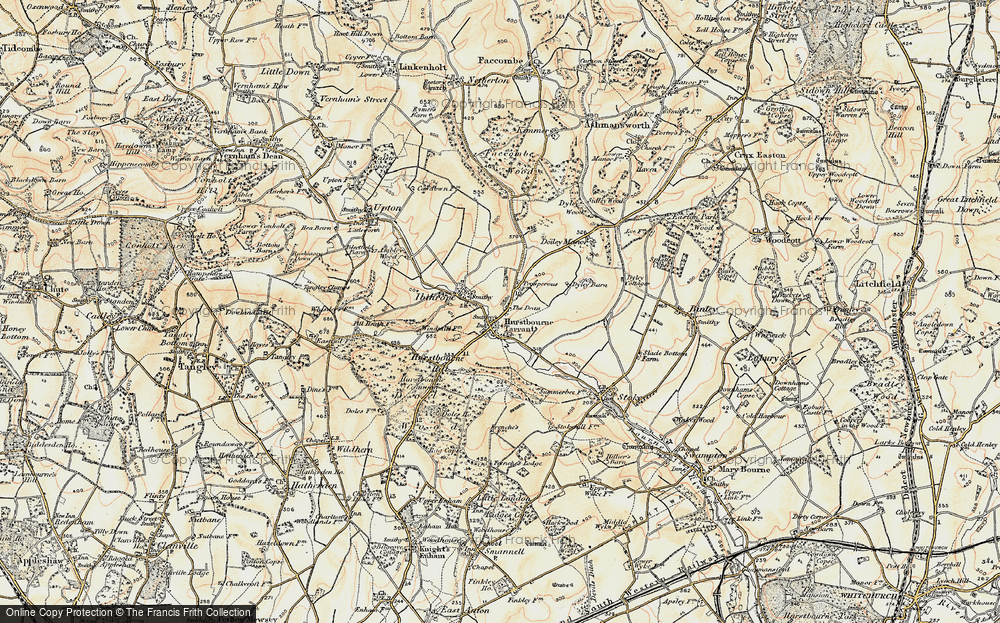Old Map of Historic Map covering Hurstbourne Tarrant in 1897-1900