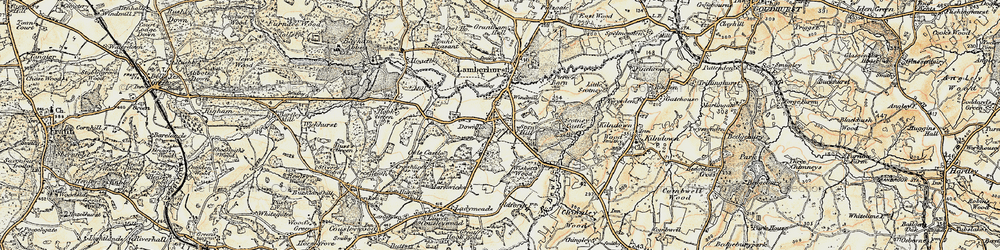 Old map of Wiskett's Wood in 1897-1898