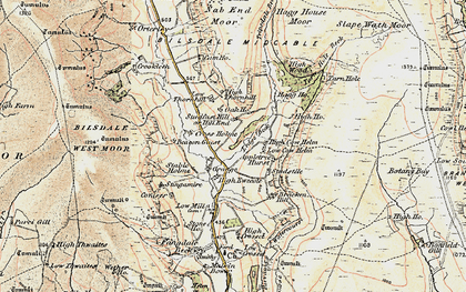 Old map of Ledge Beck in 1903-1904