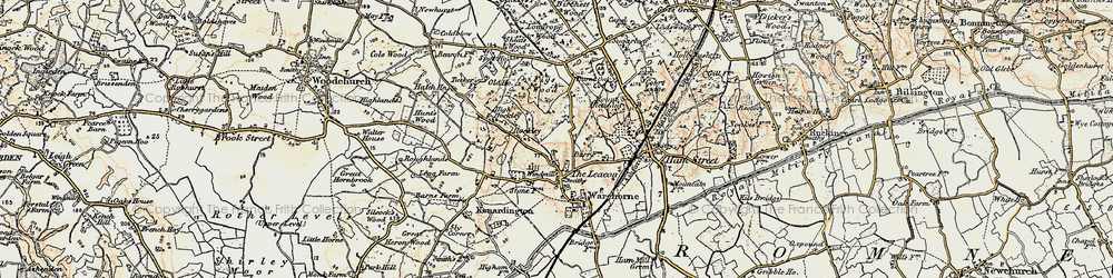 Old map of Orlestone Lodge in 1898