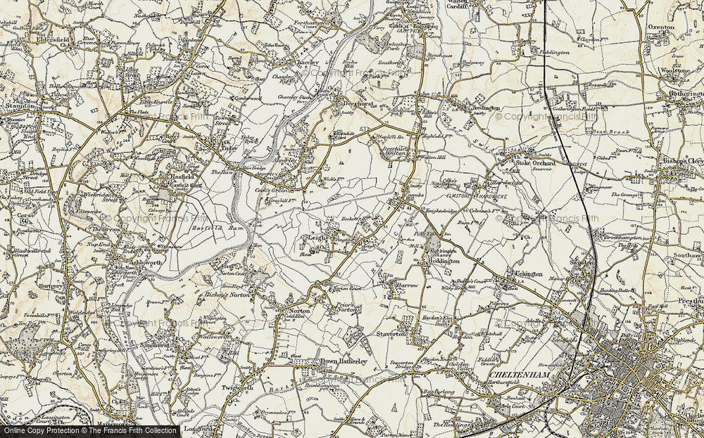 Old Map of Historic Map covering Leigh Ho in 1899-1900
