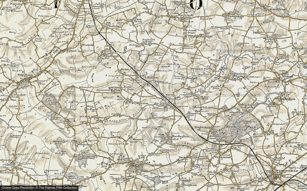 Old Map of Historic Map covering Lings, The in 1901-1902