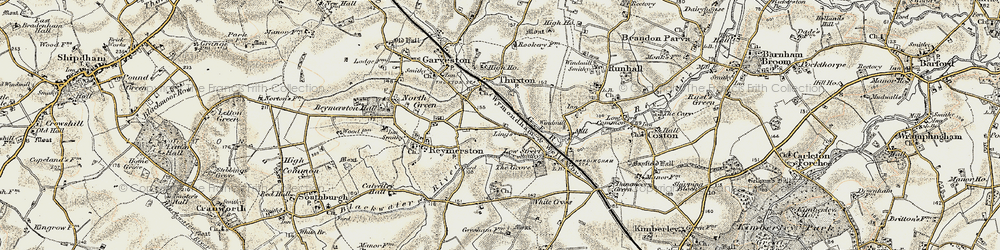Old map of Lings, The in 1901-1902