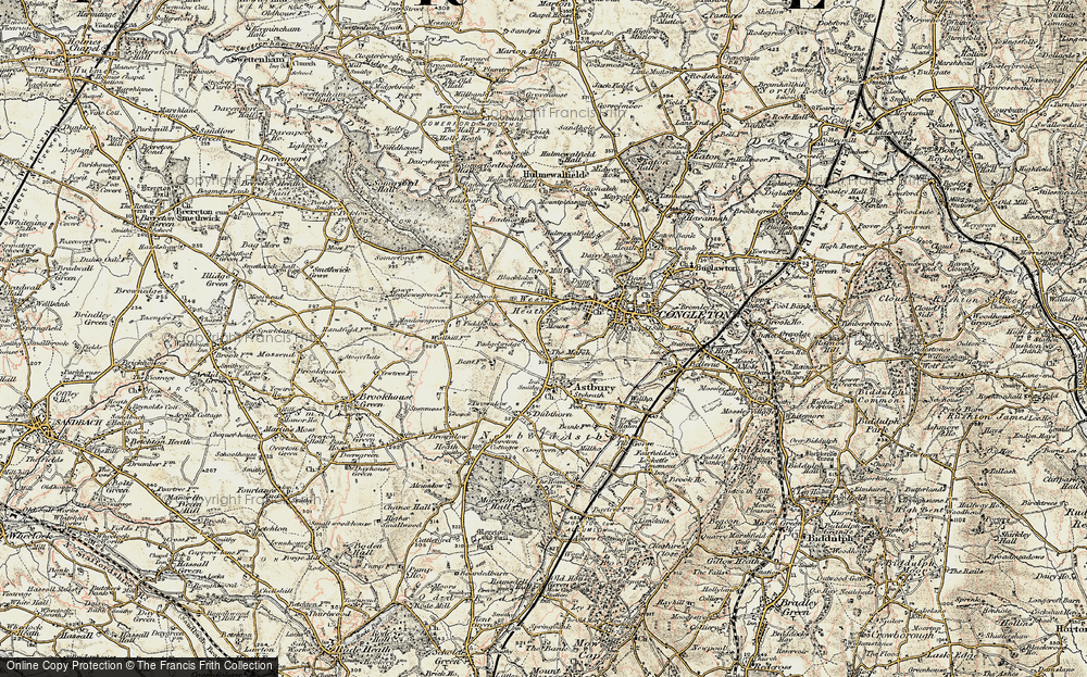Old Map of Historic Map covering Astbury Mere in 1902-1903