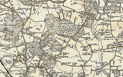 Old map of The Ridgeway in 1897-1898