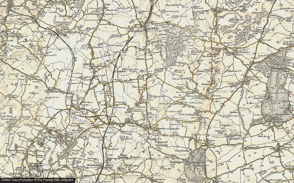 Old Map of Historic Map covering Yate Court in 1898-1899