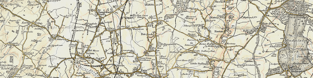 Old map of Yate Court in 1898-1899