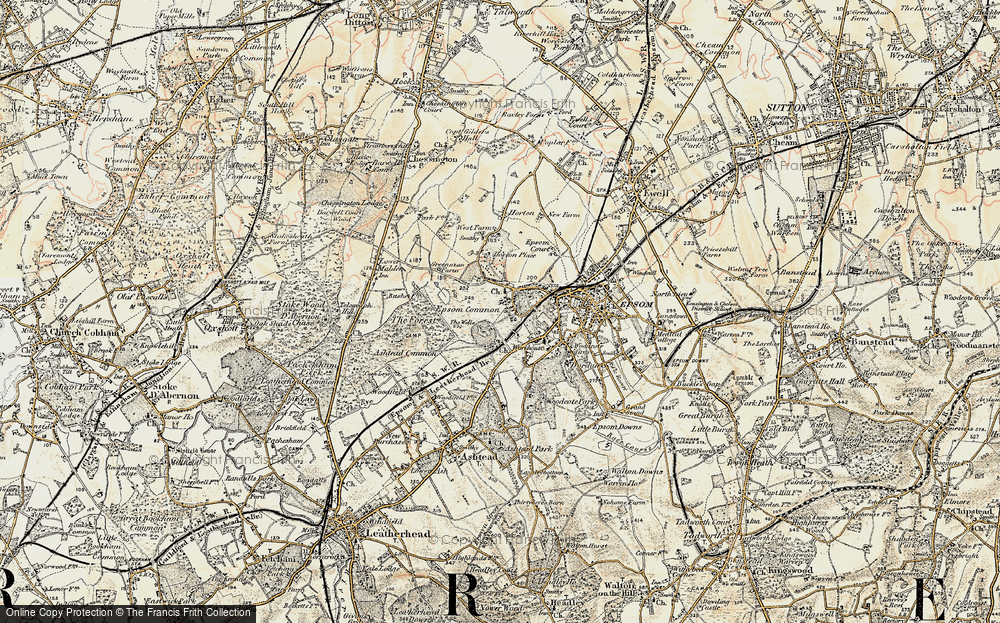 Old Map of Historic Map covering Woodcote Stud in 1897-1909