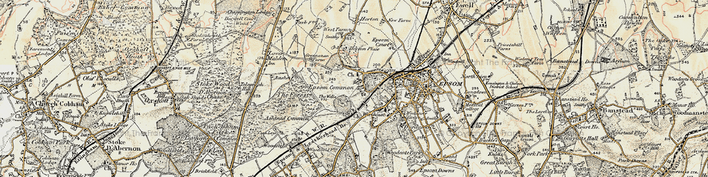 Old map of Woodcote Stud in 1897-1909