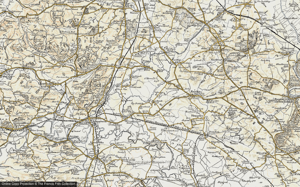 Old Map of Historic Map covering Ley in 1902