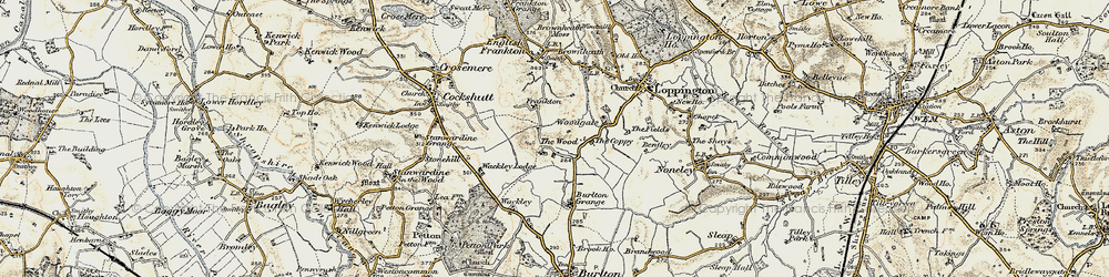 Old map of Woodgate in 1902