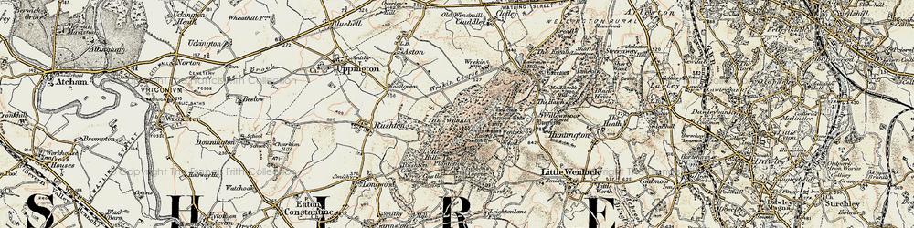 Old map of The Wrekin in 1902
