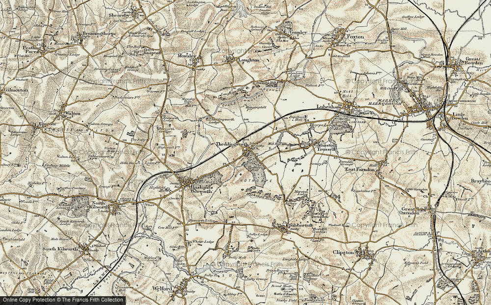Old Map of Theddingworth, 1901-1902 in 1901-1902