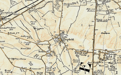 Old map of Therfield in 1898-1901
