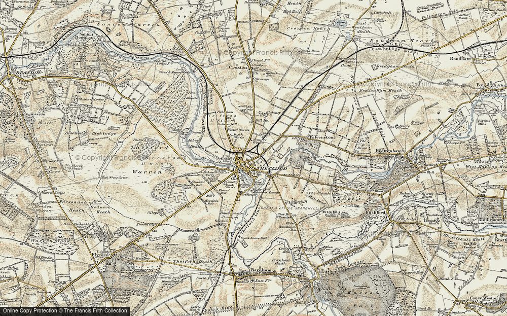 Old Map of Historic Map covering Abbey Heath in 1901
