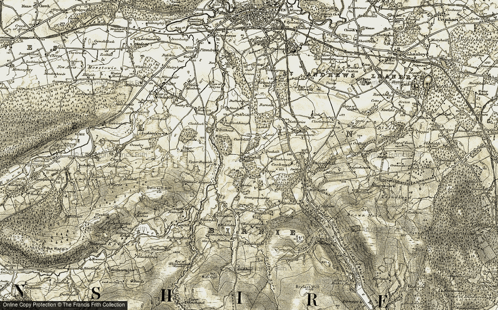 Old Map of Historic Map covering Bardonside in 1910-1911