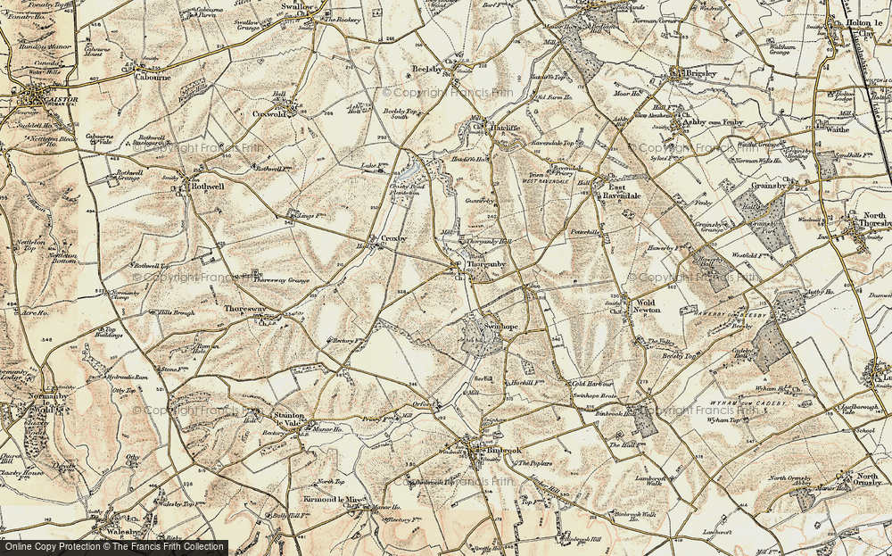 Old Map of Historic Map covering Ash Hill (Long Barrow) in 1903-1908