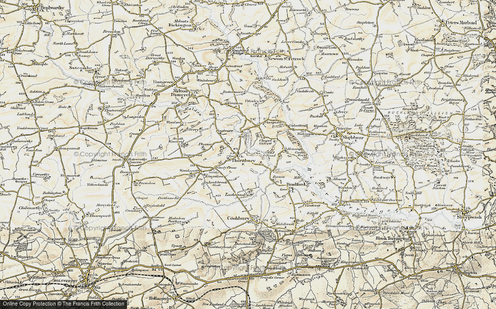 Old Map of Historic Map covering Lashbrook in 1900