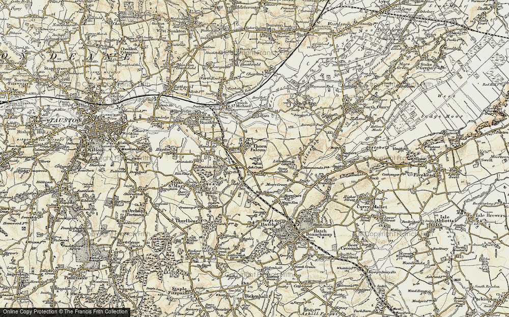 Old Map of Historic Map covering Ash Cross in 1898-1900