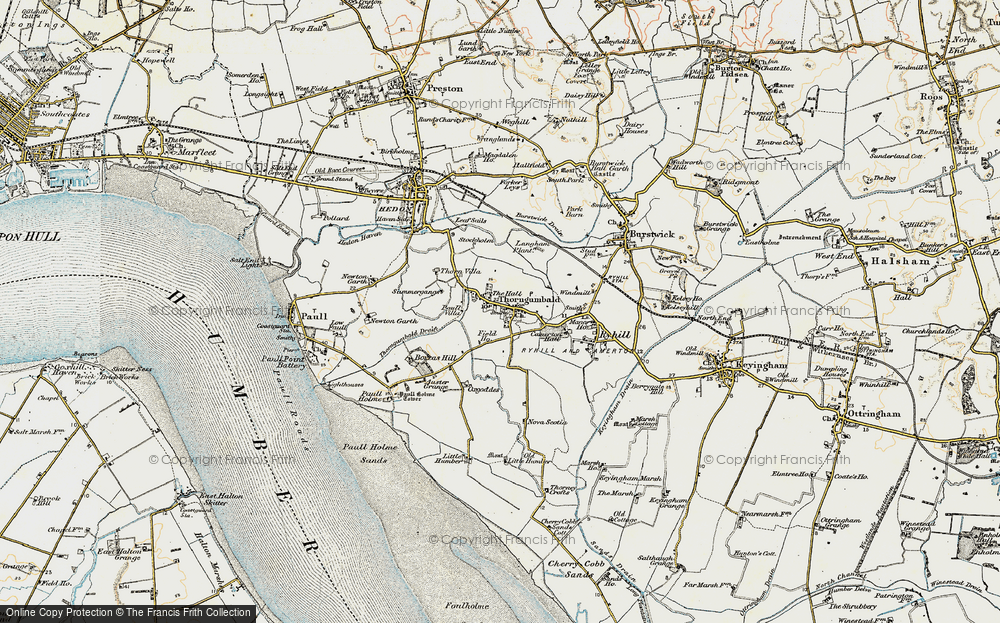 Old Map of Historic Map covering Auster Grange in 1903-1908
