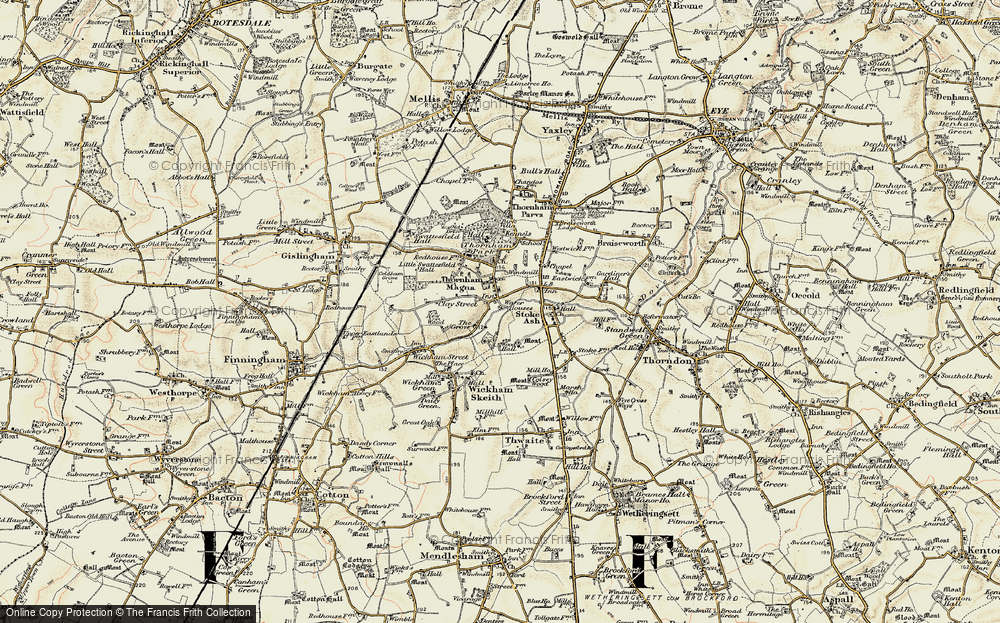 Old Map of Historic Map covering Wood Hall in 1901
