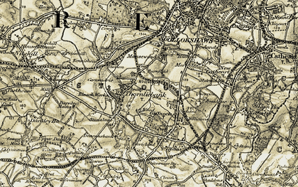 Old map of Thornliebank in 1904-1905
