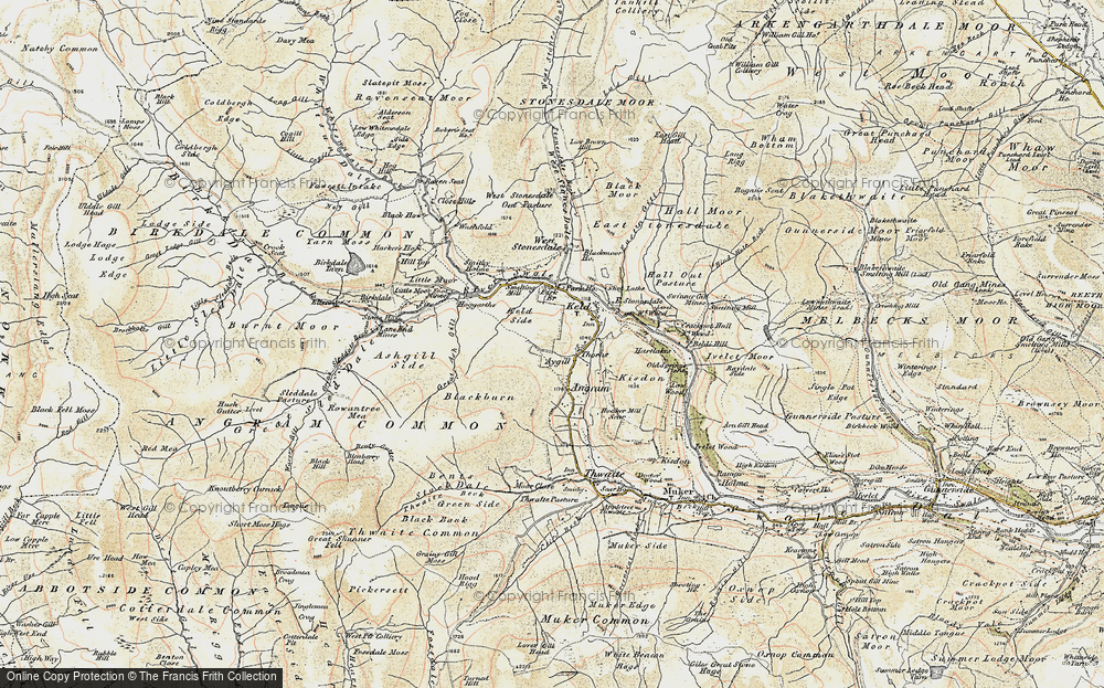 Old Map of Historic Map covering Ashgill Side in 1903-1904