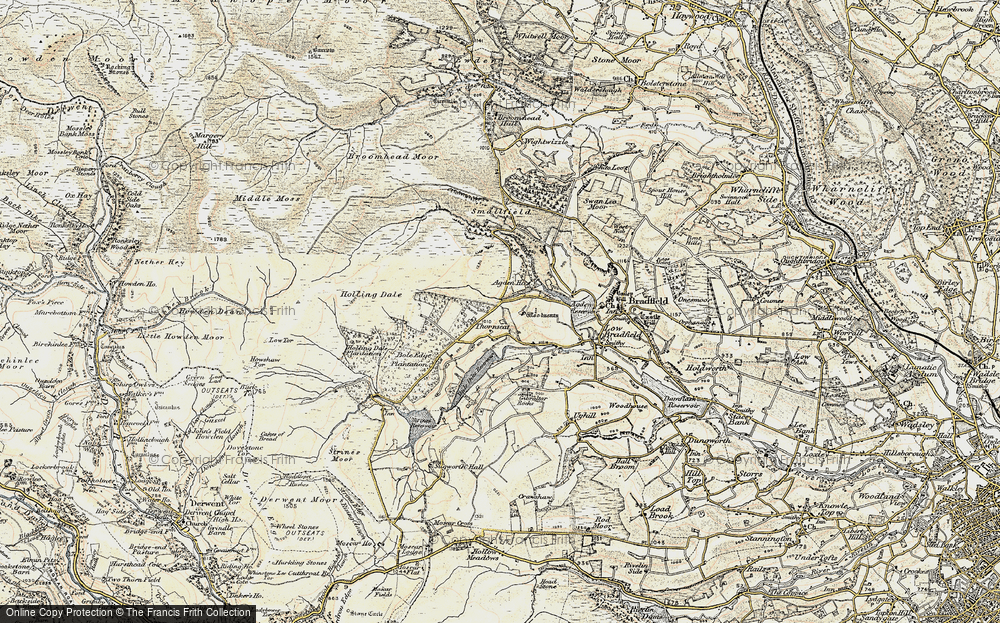 Old Map of Historic Map covering Agden Bridge in 1903