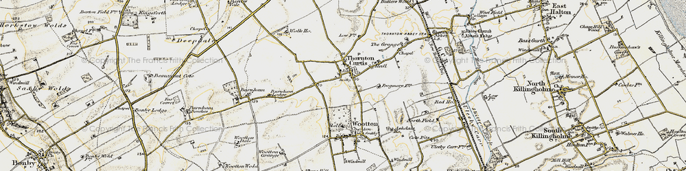 Old map of Thornton Curtis in 1903-1908