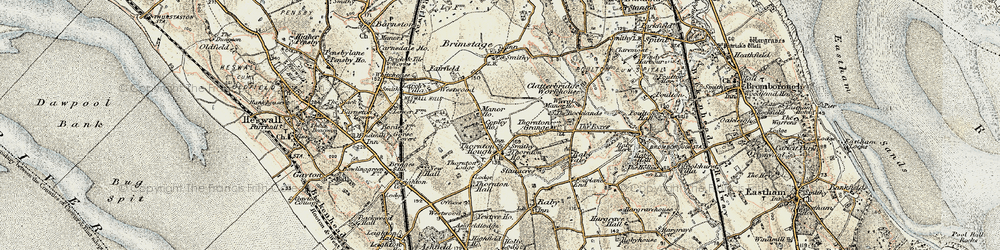 Old map of Wirral in 1902-1903