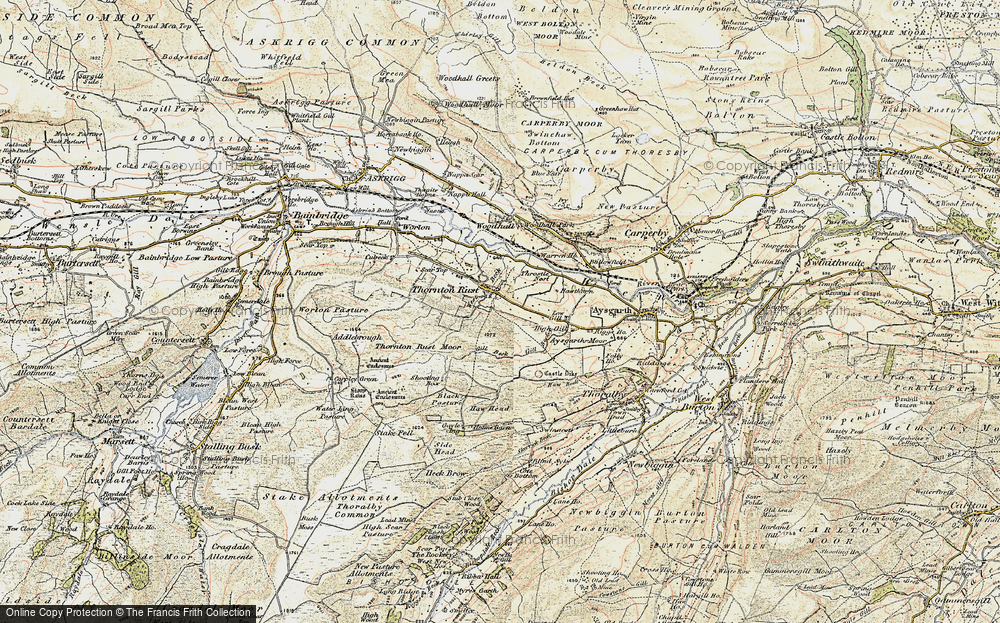 Old Map of Historic Map covering Aysgarth Moor in 1903-1904