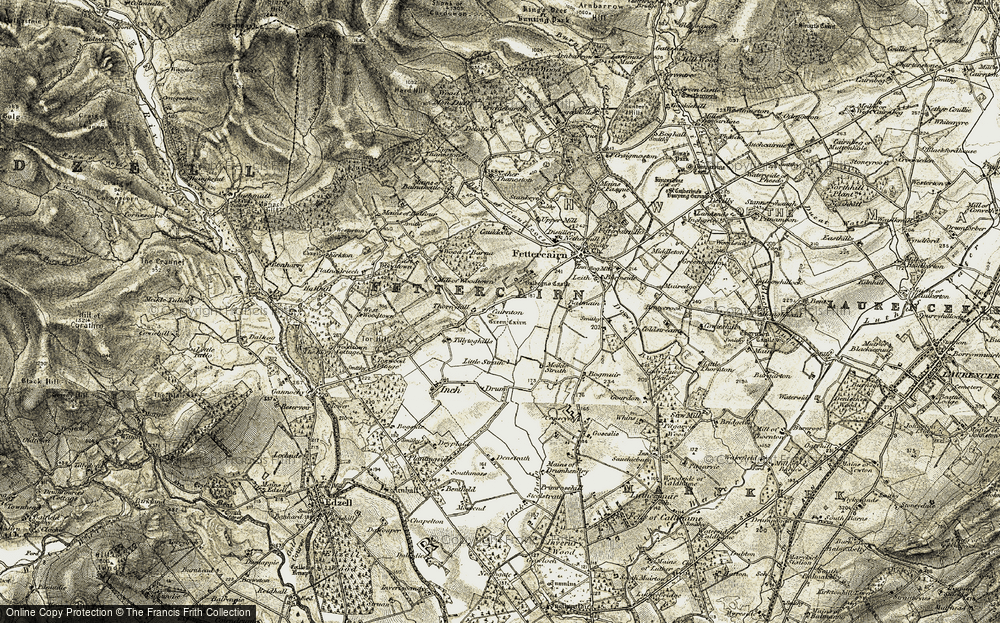 Old Map of Historic Map covering Wood of Barna in 1908