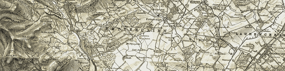 Old map of Tillytoghills in 1908