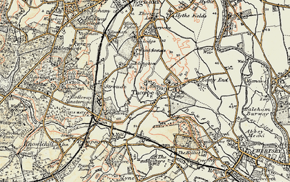 Old map of Thorpe in 1897-1909