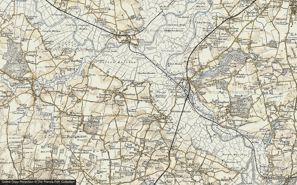 Old Map of Historic Map covering Thurlton Marshes in 1901-1902