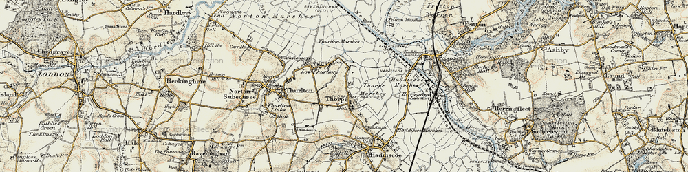 Old map of Thurlton Marshes in 1901-1902