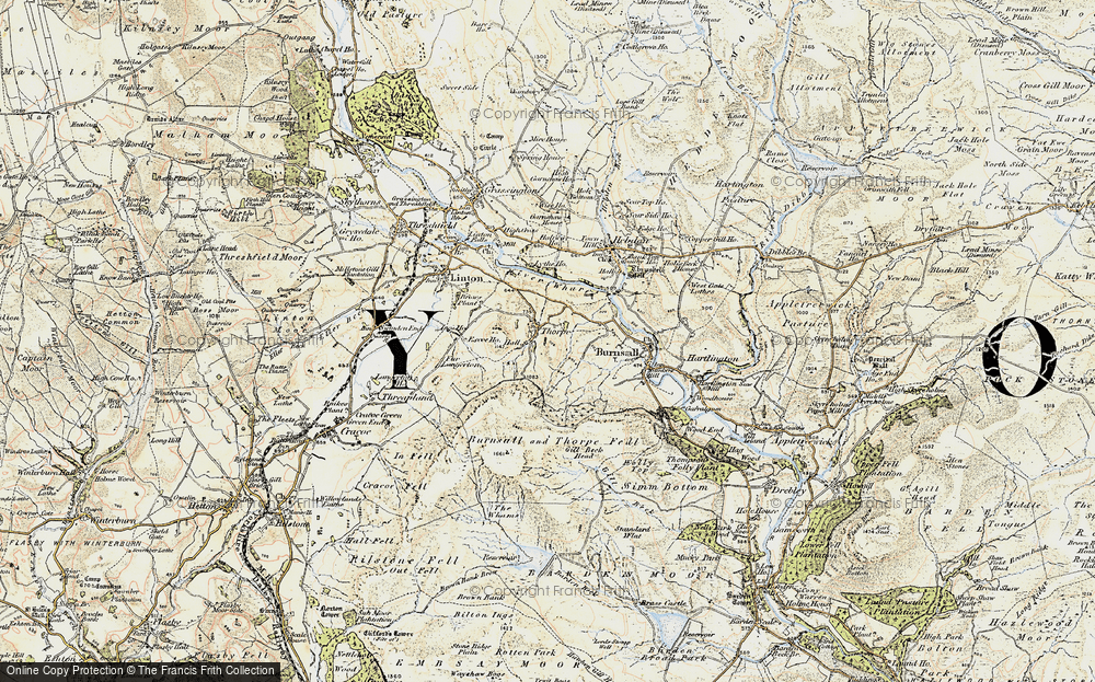 Old Map of Historic Map covering Air Scar Crags in 1903-1904