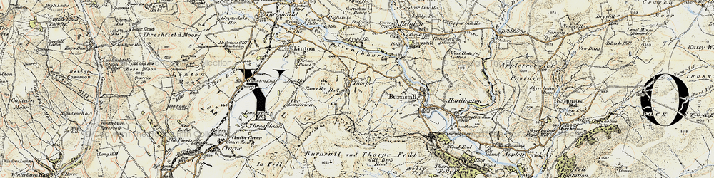 Old map of Air Scar Crags in 1903-1904