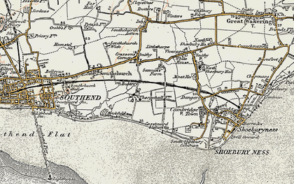 Old map of Thorpe Bay in 1897-1898