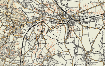 Old map of Thorpe Lea in 1897-1909