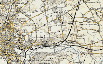 Old map of Thorpe St Andrew in 1901-1902