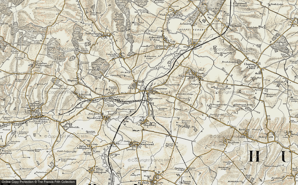 Old Map of Historic Map covering Woodford Grange in 1901-1902