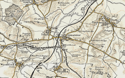 Old map of Thrapston in 1901-1902