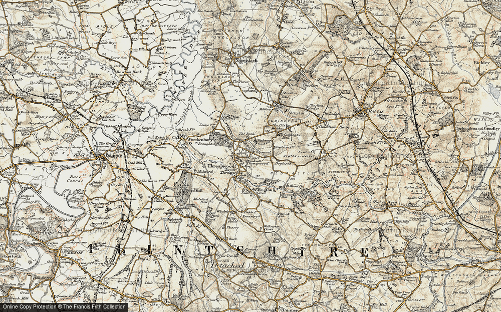 Old Map of Historic Map covering Tinkwood in 1902