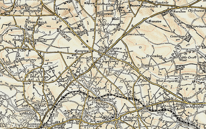 Old map of Three Burrows in 1900