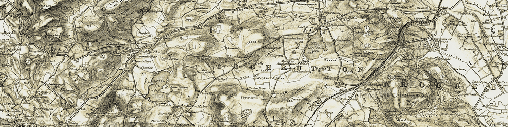 Old map of Abune the Brae in 1904-1905